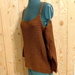 NWT Windsor Women Off-Shoulder Brown Knit Tank M
